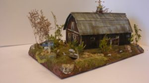 Pig Farm Barn built from a Laser Art kit with scratch built shed. By Gary Whistleman and Bret Jones