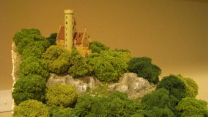 The castle on the mountain- though sold as an HO kit, it is actually N scale!